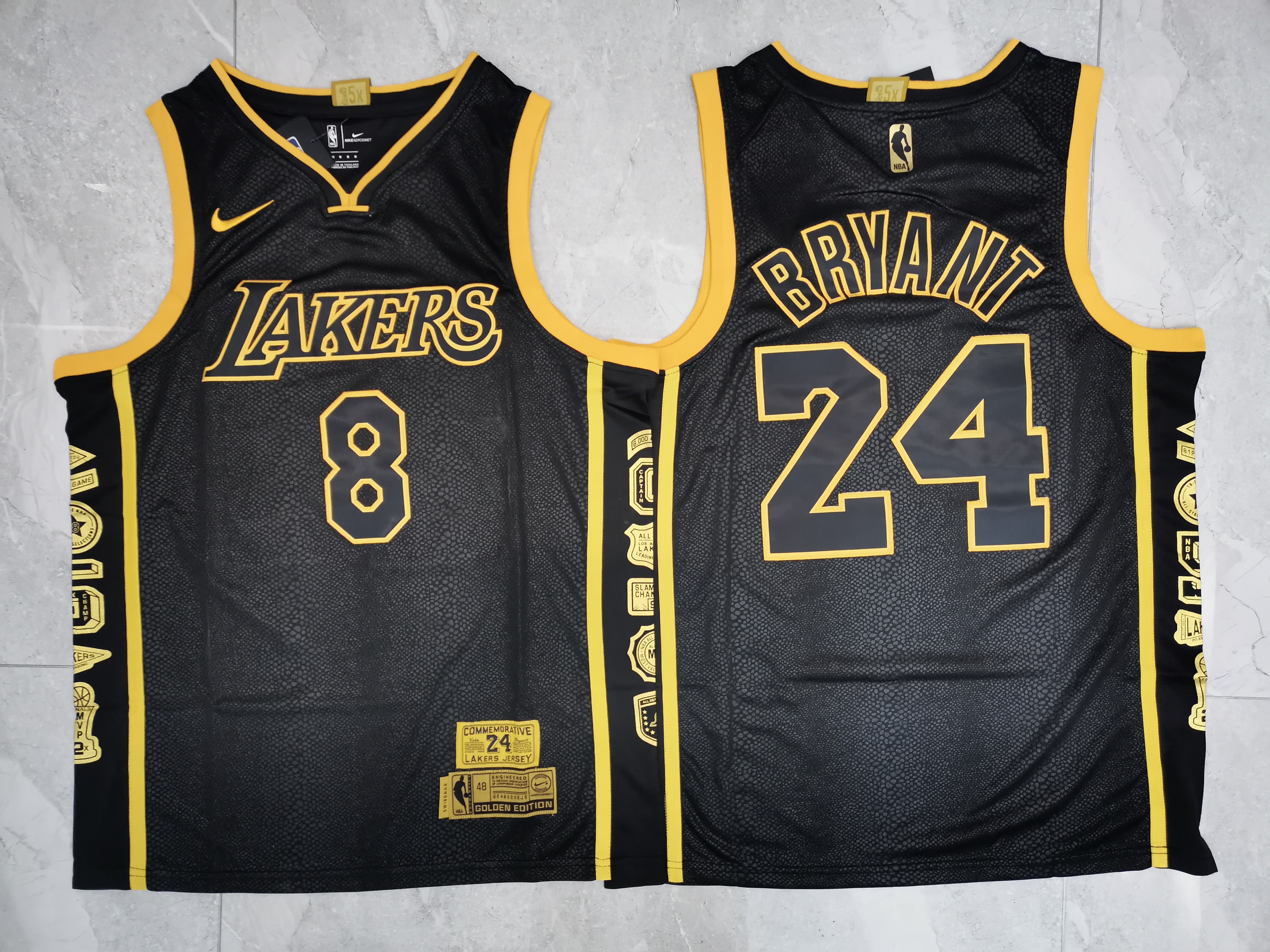 Lakers 24 Kobe Bryant Black Retirement Commemorative Nike Swingman Jersey