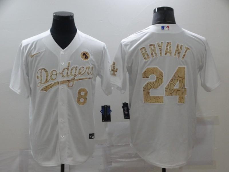 Dodgers 8 & 24 Kobe Bryant White Gold 2020 Nike KB Cool Base Jersey