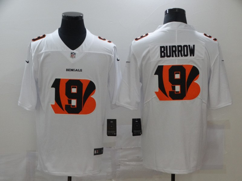Nike Bengals 9 Joe Burrow White Shadow Logo Limited Jersey
