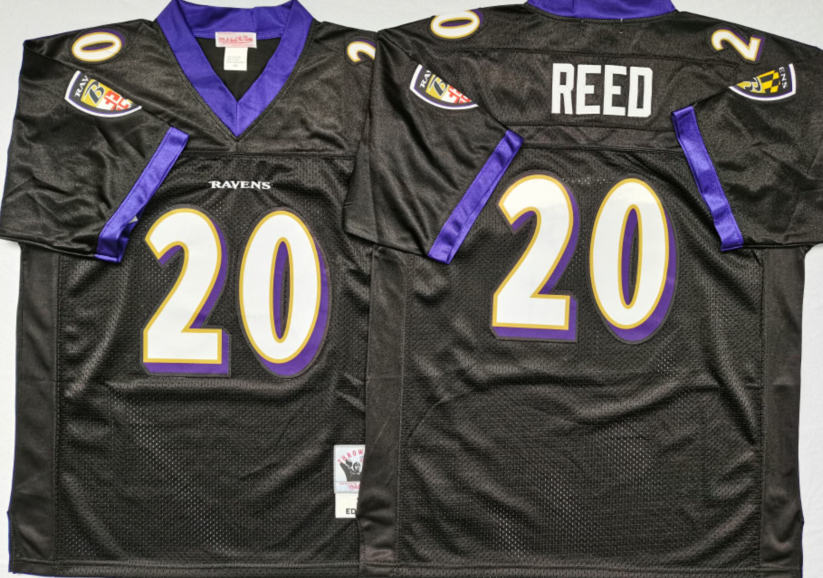 Ravens 20 Ed Reed Black M&N Throwback Jersey