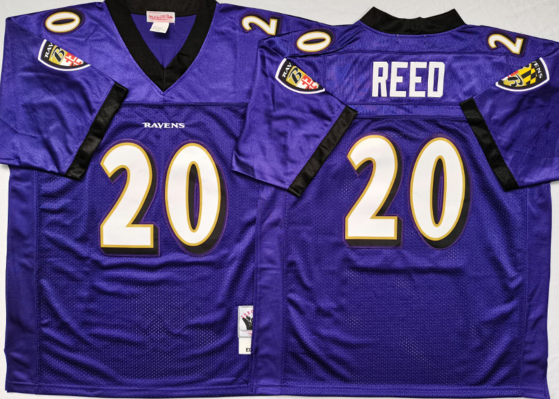 Ravens 20 Ed Reed Purple M&N Throwback Jersey