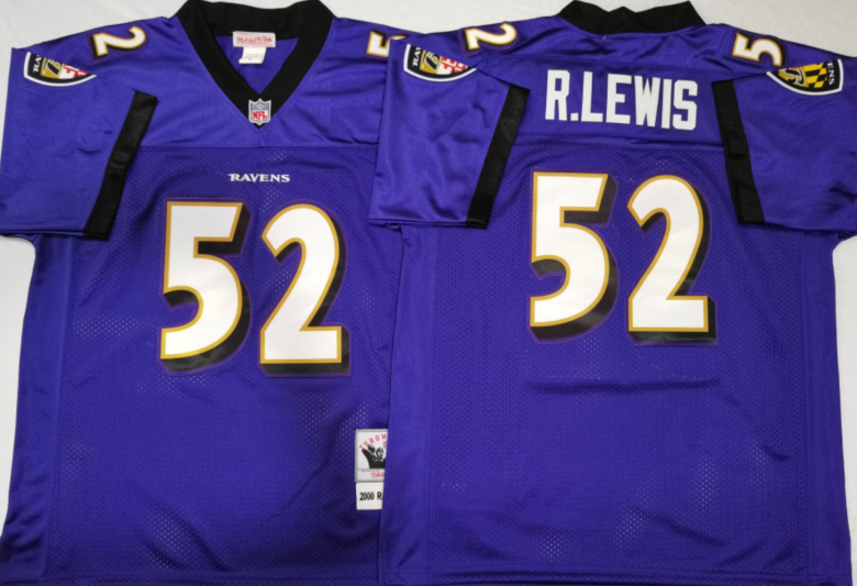 Ravens 52 Ray Lewis Purple M&N Throwback Jersey