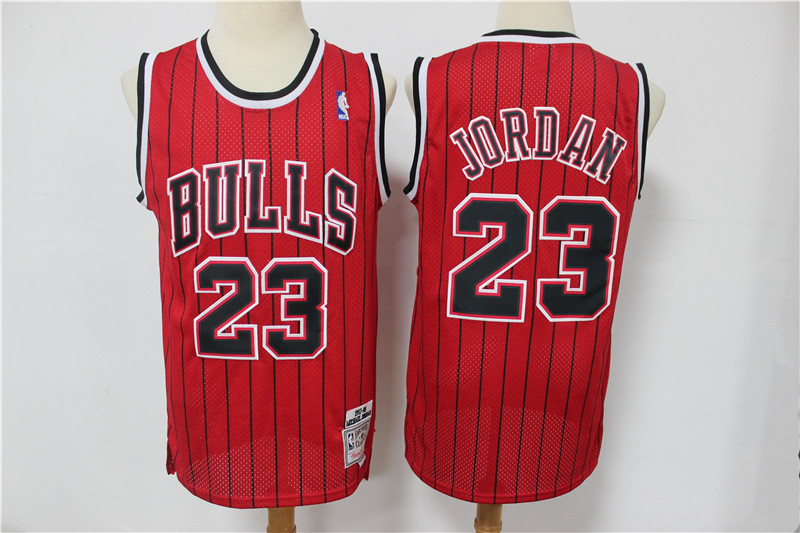 Bulls 23 Michael Jordan Red Hardwood Classics Jersey