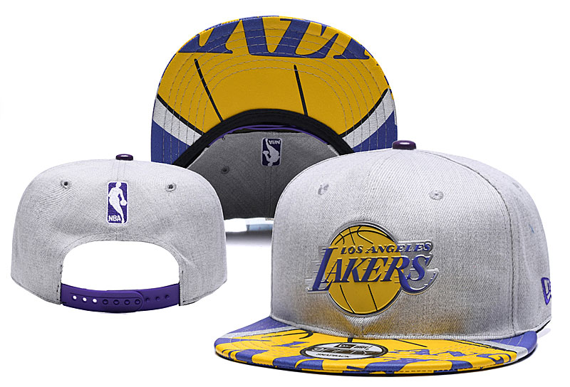 Lakers Team Logo Gray Adjustable Hat YD