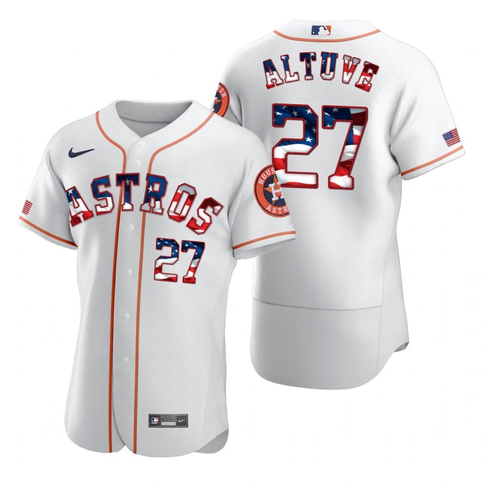 Astros 27 Jose Altuve White USA Flag Fashion Nike Cool Base Jersey