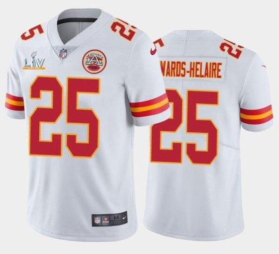 Nike Chiefs 25 Clyde Edwards-Helaire White 2021 Super Bowl LV Vapor Untouchable Limited Jersey