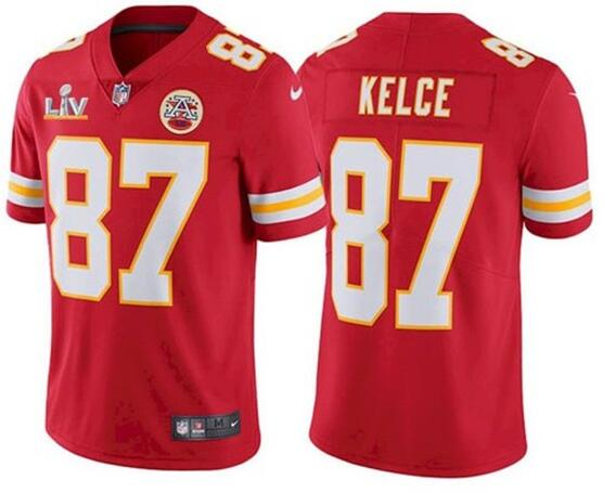 Nike Chiefs 87 Travis Kelce Red 2021 Super Bowl LV Vapor Untouchable Limited Jersey