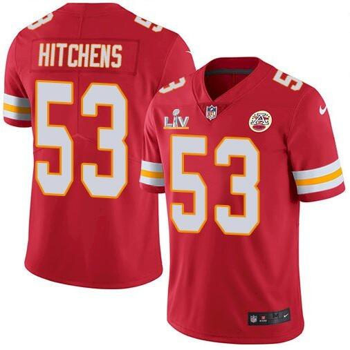 Nike Chiefs 53 Anthony Hitchens Red 2021 Super Bowl LV Vapor Untouchable Limited Jersey
