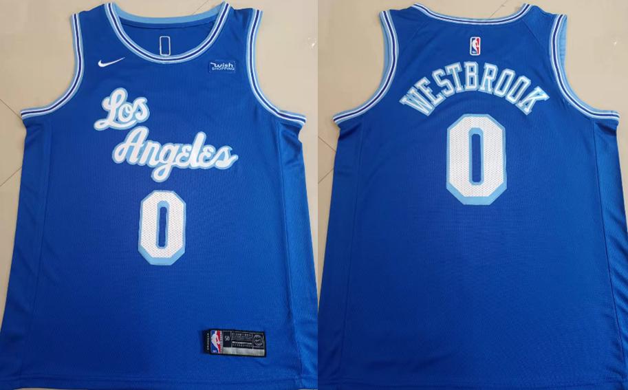 Lakers 0 Russell Westbrook Blue Nike Swingman Jersey