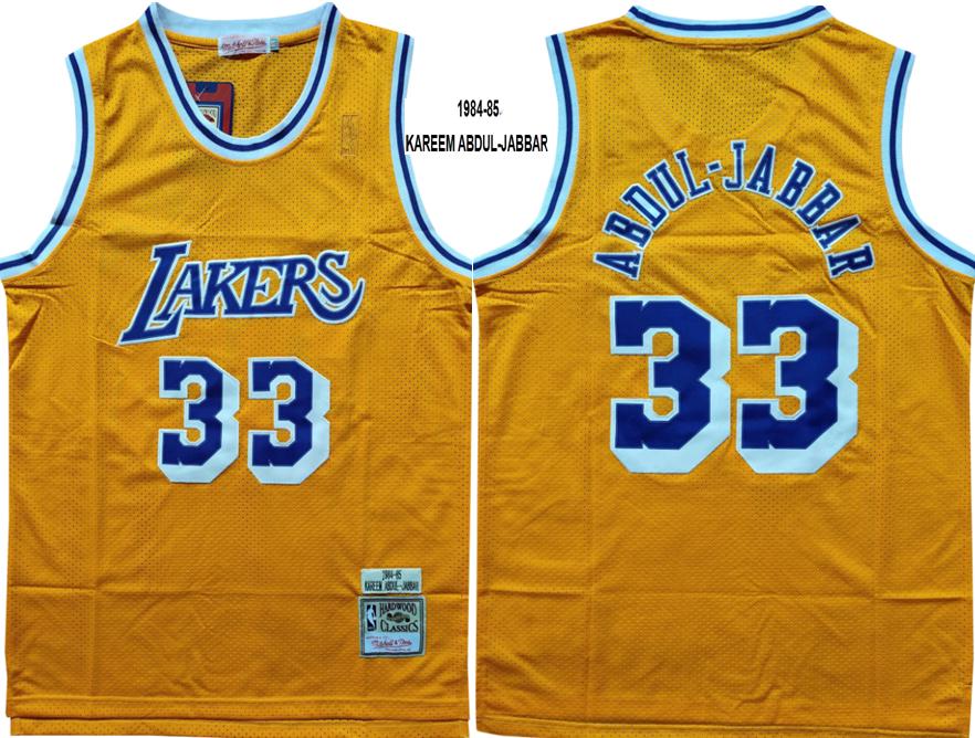 Lakers 33 Abdul Jabbar Yellow 1984-85 Hardwood Classics Jersey