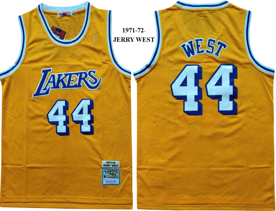 Lakers 44 Jerry West Yellow 1971-72 Hardwood Classics Jersey