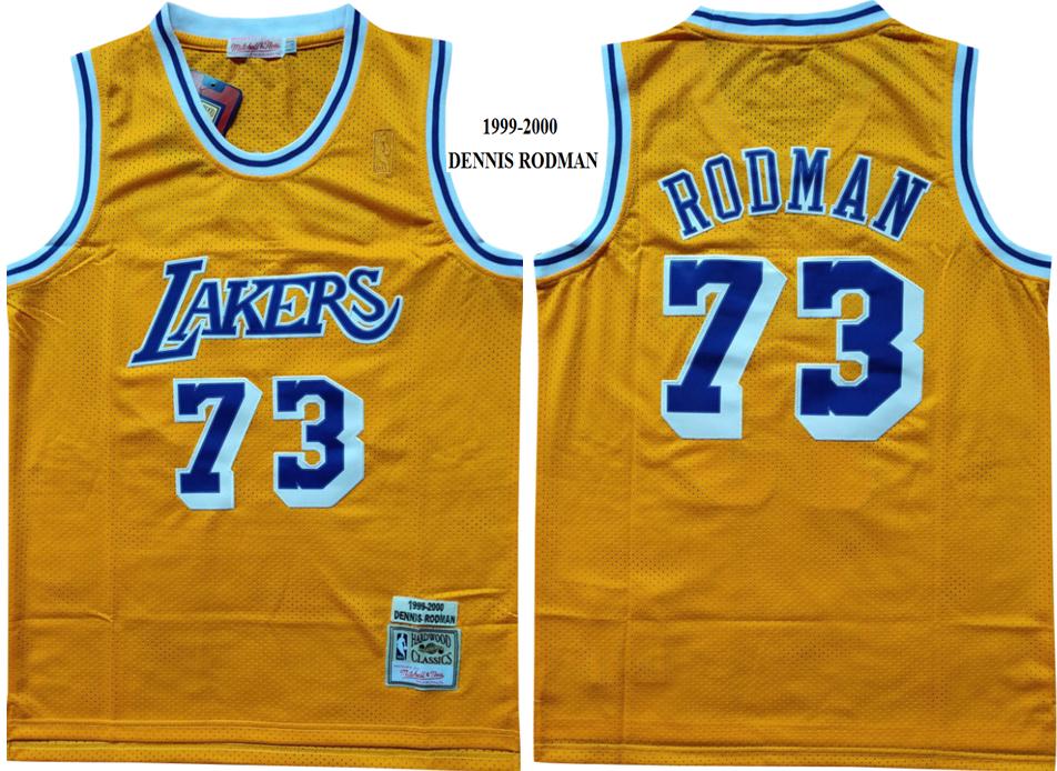 Lakers 73 Dennis Rodman Yellow 1999-2000 Hardwood Classics Mesh Jersey