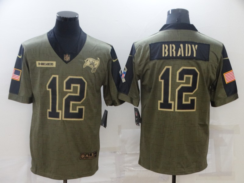 Nike Buccaneers 12 Tom Brady Olive 2021 Salute To Service Limited Jersey