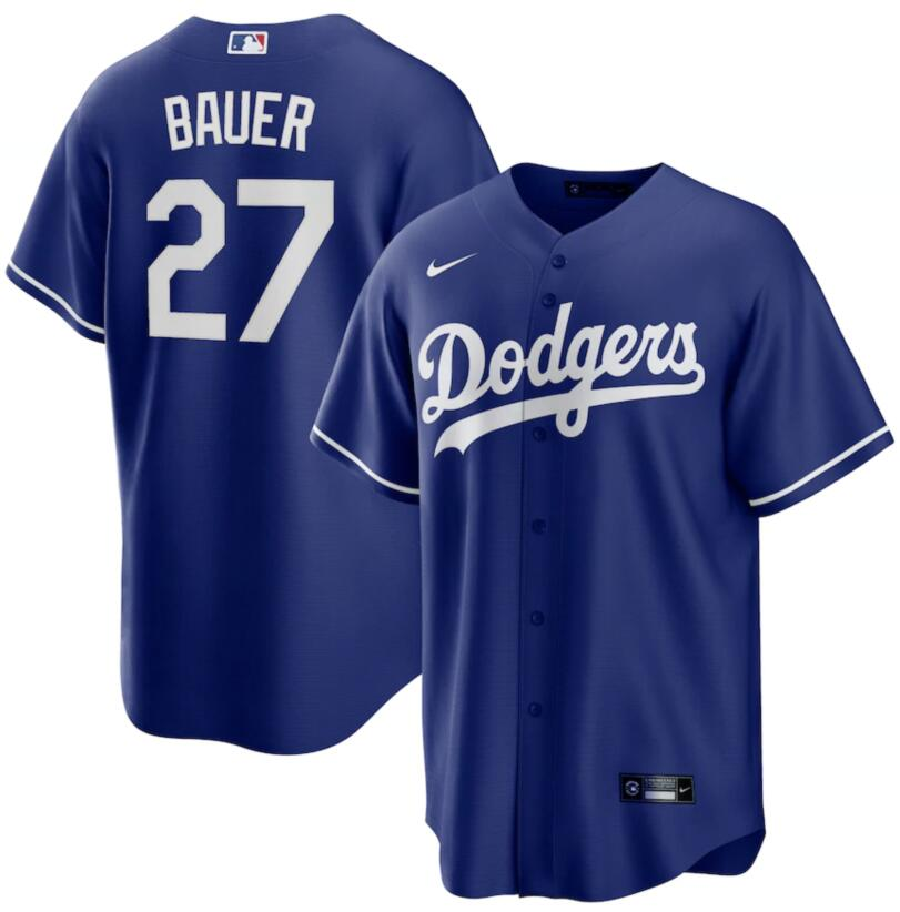 Dodgers 27 Trevor Bauer Royal Nike Cool Base Jersey
