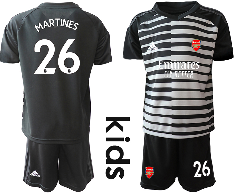 2020-21 Arsenal 26 MARTINES Black Youth Goalkeeper Soccer Jersey