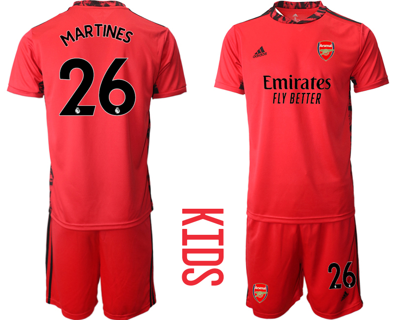2020-21 Arsenal 26 MARTINES Red Youth Goalkeeper Soccer Jersey