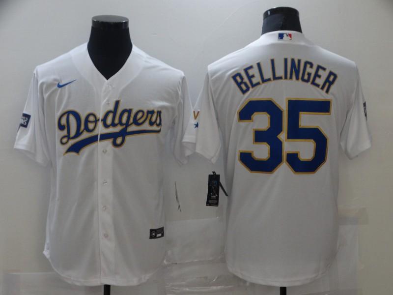 Dodgers 35 Cody Bellinger White Nike 2021 Gold Program Cool Base Jersey