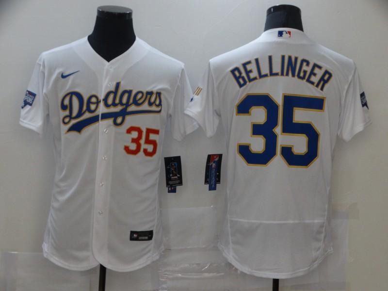 Dodgers 35 Cody Bellinger White Nike 2021 Gold Program Flexbase Jersey