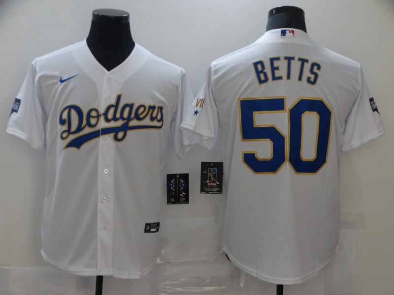 Dodgers 50 Mookie Betts White Nike 2021 Gold Program Cool Base Jersey
