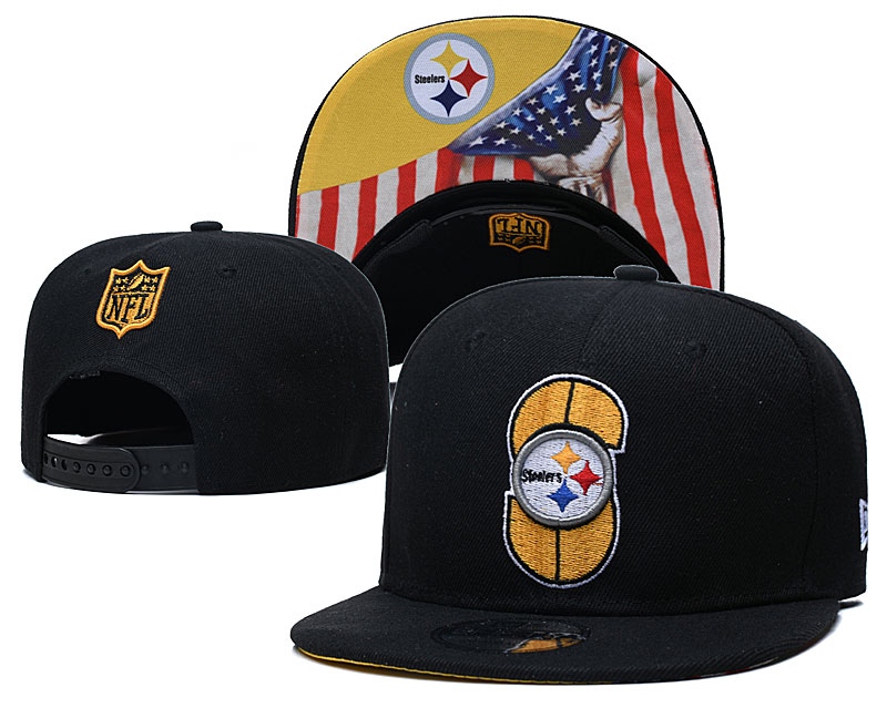 Steelers Team Logo Black USA Flag Adjustable Hat GS