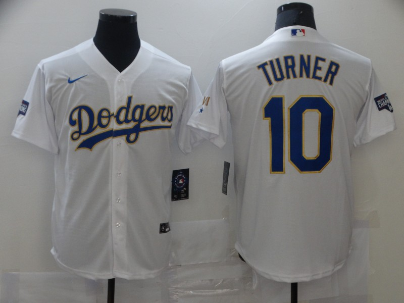 Dodgers 10 Justin Turner White Nike 2021 Gold Program Cool Base Jersey