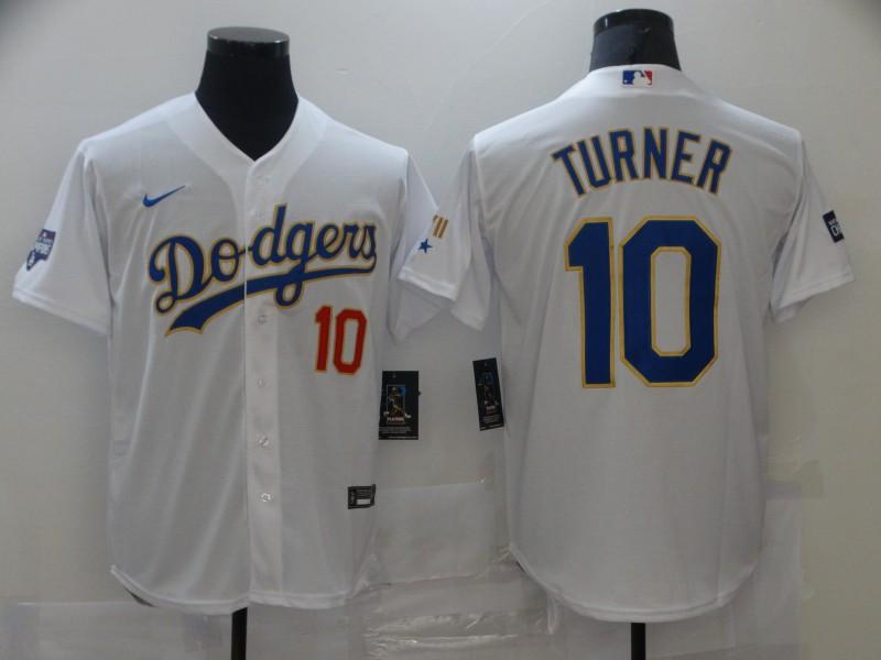 Dodgers 10 Justin Turner White Nike 2021 Gold Program Cool Base Jerseys