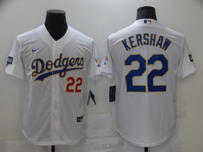 Dodgers 22 Clayton Kershaw White Nike 2021 Gold Program Cool Base Jerseys