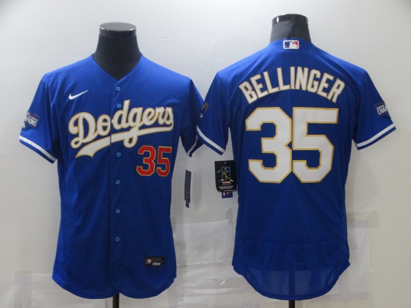 Dodgers 35 Cody Bellinger Royal Nike 2021 Gold Program Flexbase Jerseys