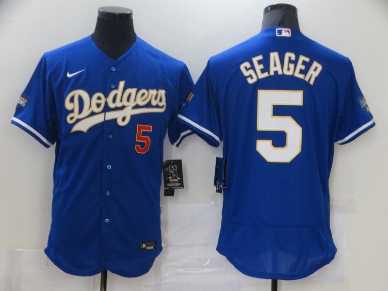 Dodgers 5 Corey Seager Royal Nike 2021 Gold Program Flexbase Jersey