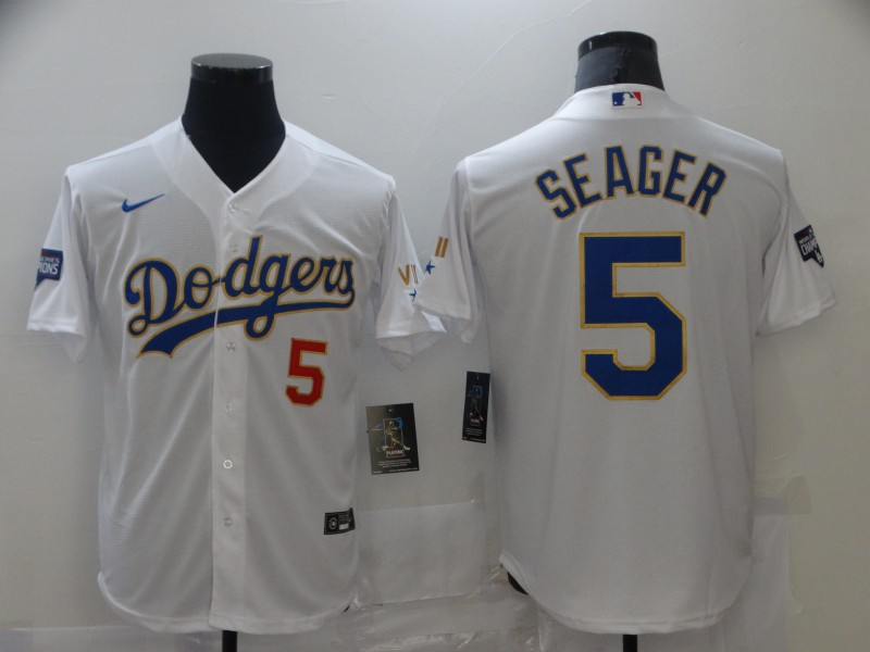 Dodgers 5 Corey Seager White Nike 2021 Gold Program Cool Base Jersey