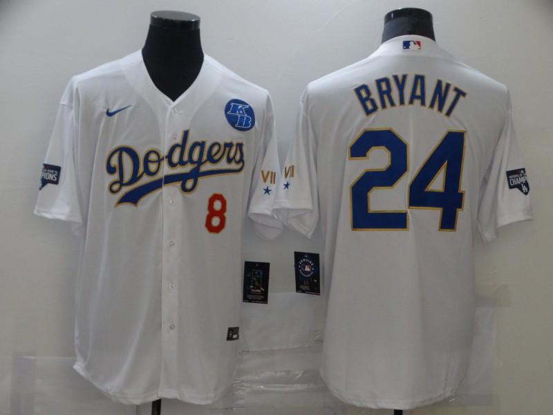 Dodgers 8 Kobe Bryant White Nike 2021 Gold Program KB Cool Base Jersey
