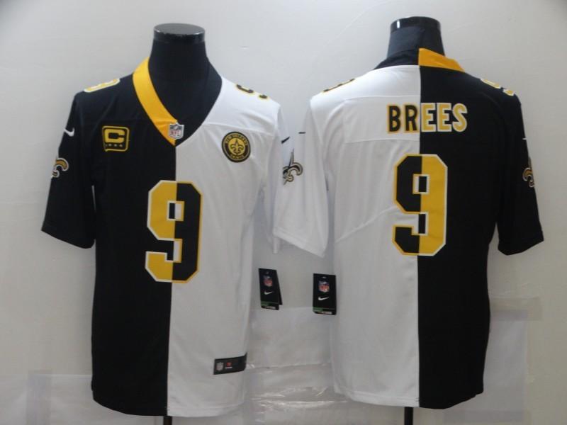 Nike Saints 9 Drew Brees Black And White Split C Patch Vapor Untouchable Limited Jersey