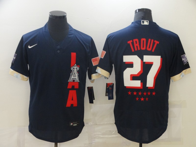 Angels 27 Mike Trout Navy Nike 2021 MLB All-Star FlexBase Jersey
