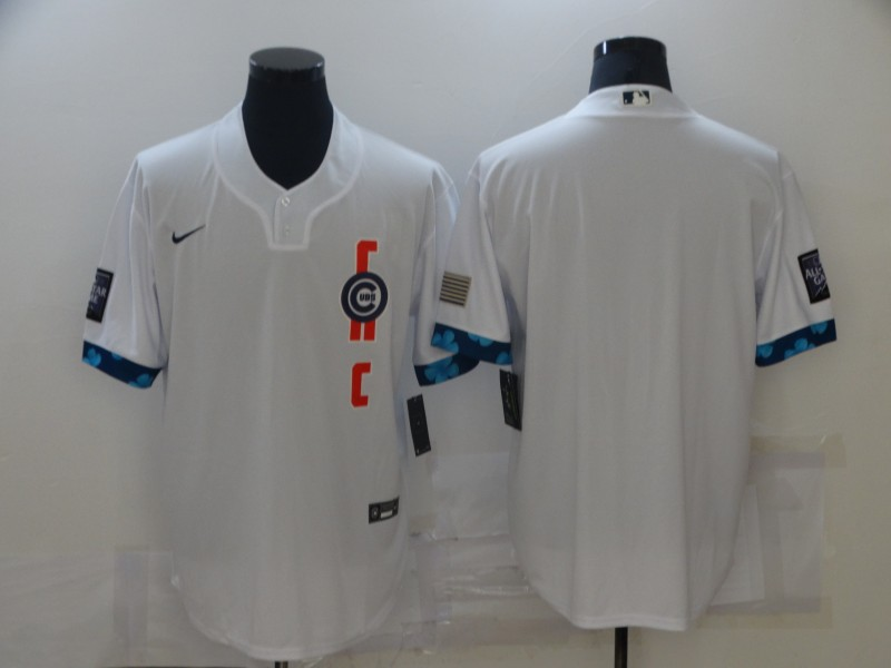 Cubs Blank White Nike 2021 MLB All-Star Cool Base Jersey