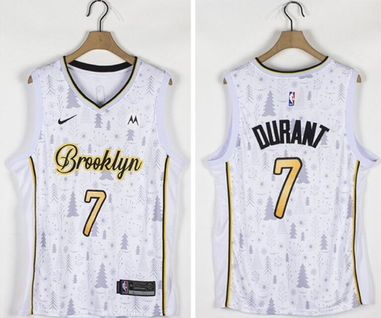Nets 7 Kevin Durant White Nike Christmas Edition Swingman Jersey