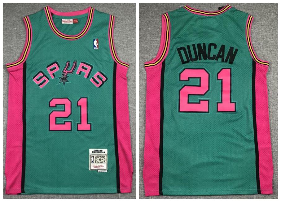 Spurs 21 Tim Duncan Green 1998-99 Hardwood Classics Jersey