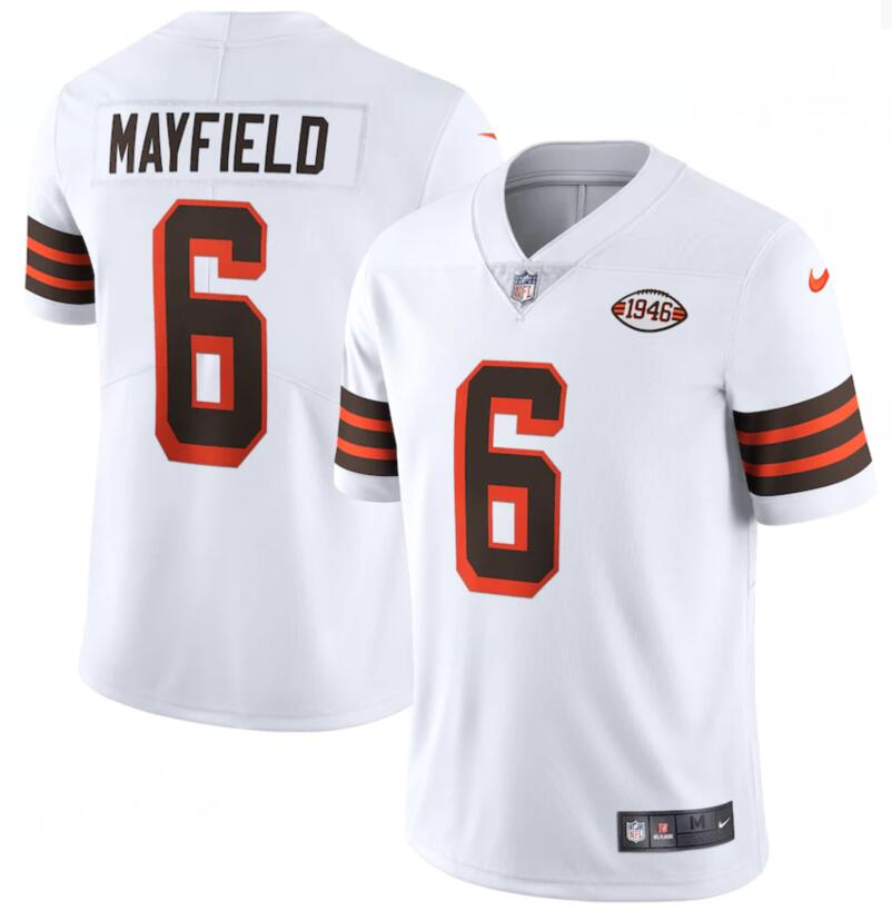 Nike Browns 6 Baker Mayfield White 1946 Collection Alternate Vapor Limited Jersey