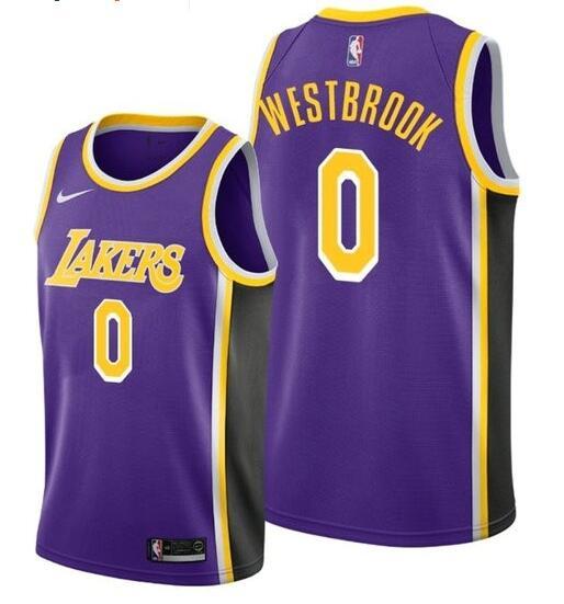 Lakers 0 Russell Westbrook Purple Nike Swingman Jersey
