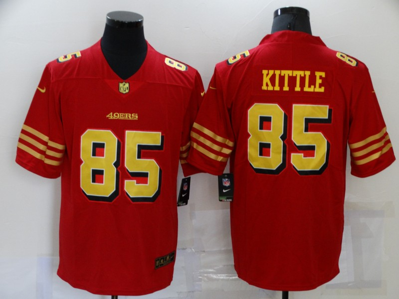 Nike 49ers 85 George Kittle Red Gold Color Rush Vapor Untouchable Limited Jersey