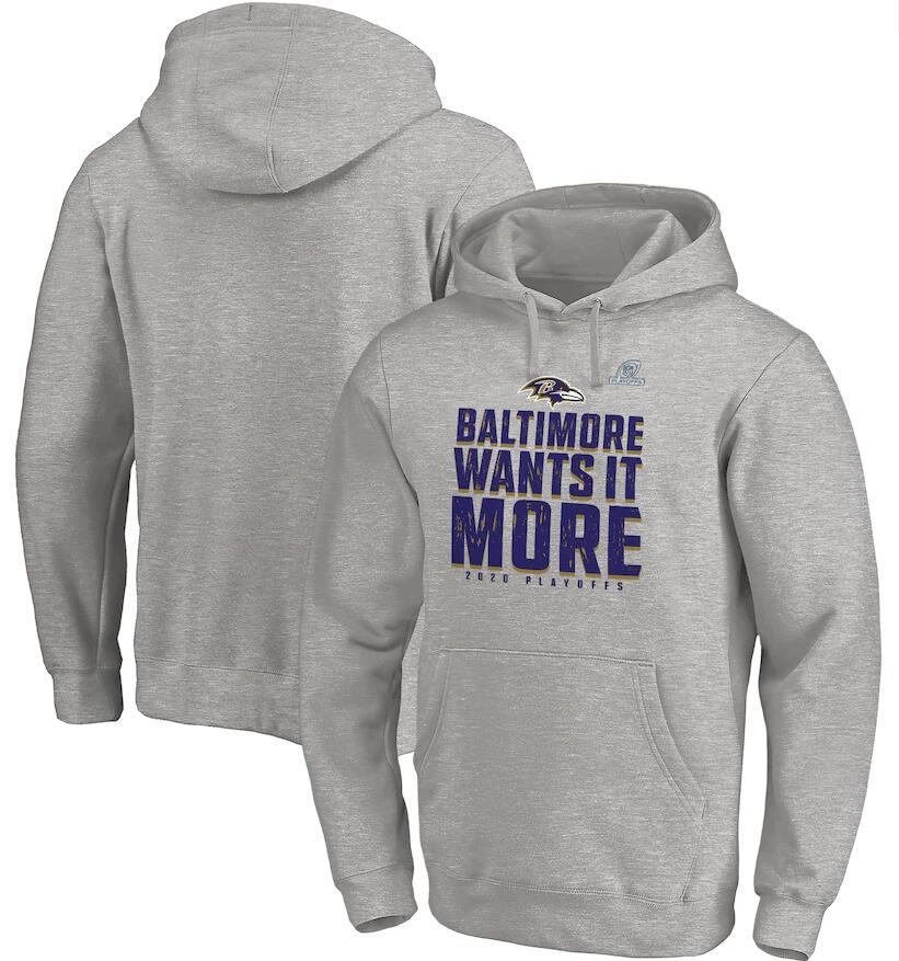 Men's Baltimore Ravens Fanatics Branded Heather Gray 2020 NFL Playoffs Bound Shift Pullover Hoodie