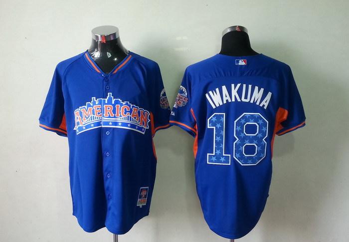 American League 18 Iwakuma blue 2013 All Star Jerseys