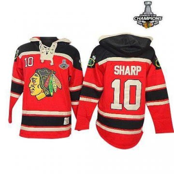 Blackhawks 10 Patrick Sharp Red Sawyer Hooded Sweatshirt 2013 Stanley Cup Champions Jerseys