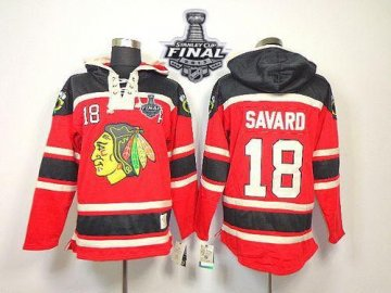 Blackhawks 18 Denis Savard Red Sawyer Hooded Sweatshirt With 2013 Stanley Cup Finals Jerseys