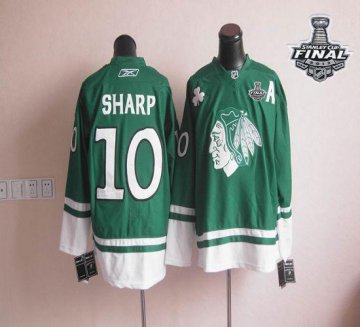 Blackhawks St Patty'S Day 10 Patrick Sharp Green With 2013 Stanley Cup Finals Jerseys