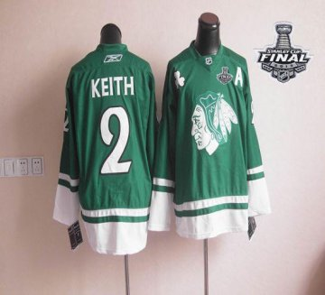 Blackhawks St Patty'S Day 2 Duncan Keith Green With 2013 Stanley Cup Finals Jerseys
