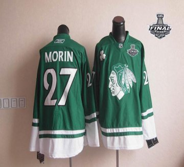 Blackhawks St Patty'S Day 27 Jeremy Morin Green With 2013 Stanley Cup Finals Jerseys