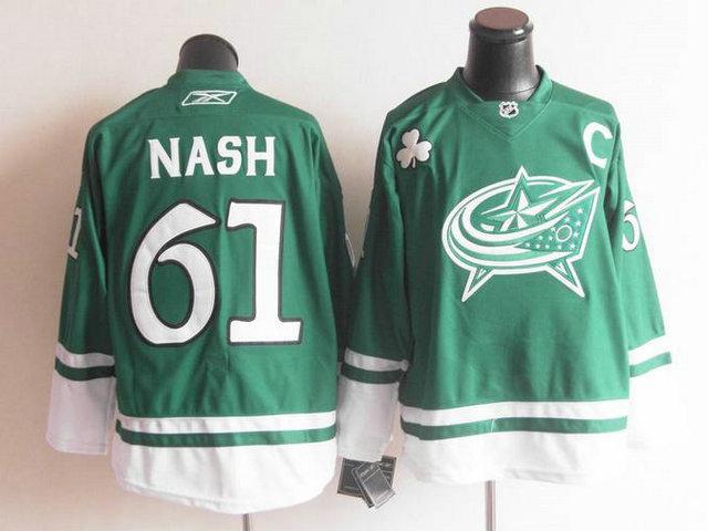 Blue Jackets 61 Nash Green C Patch Jerseys