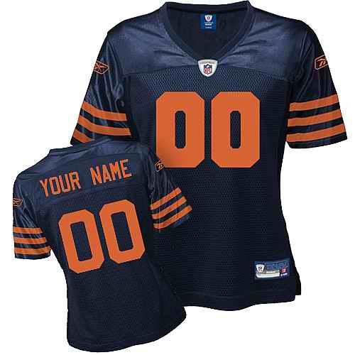Chicago Bears Women Customized Blue Orange Numbers Jersey