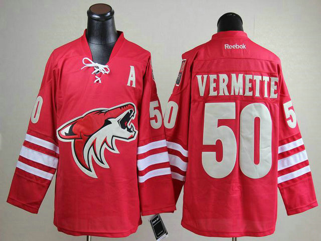Coyotes 50 Vermette Red With A Patch Jerseys