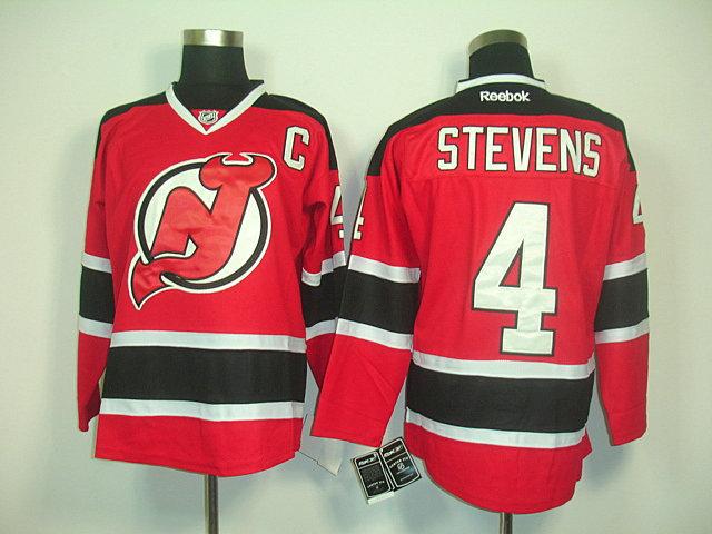 Devils 4 Stevens Red C Patch Jerseys